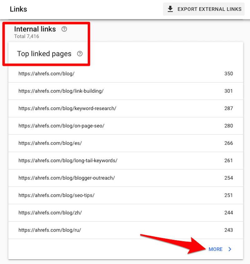 Hướng dẫn tìm các liên kết nội bộ trong Google search Console