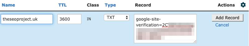 Sao chép và dán bản ghi TXT từ Search Console vào hộp Record Record