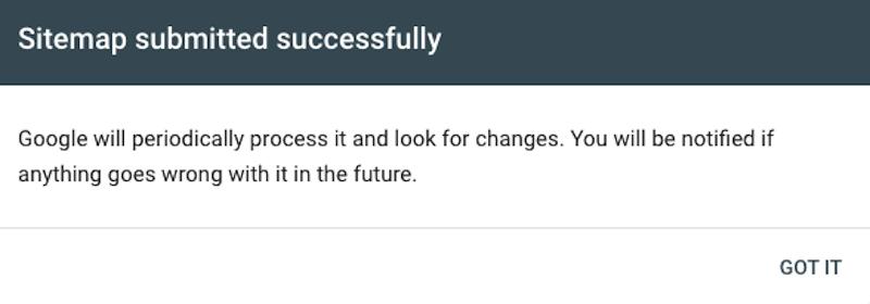 Thông báo tạo sơ đồ trang web thành công