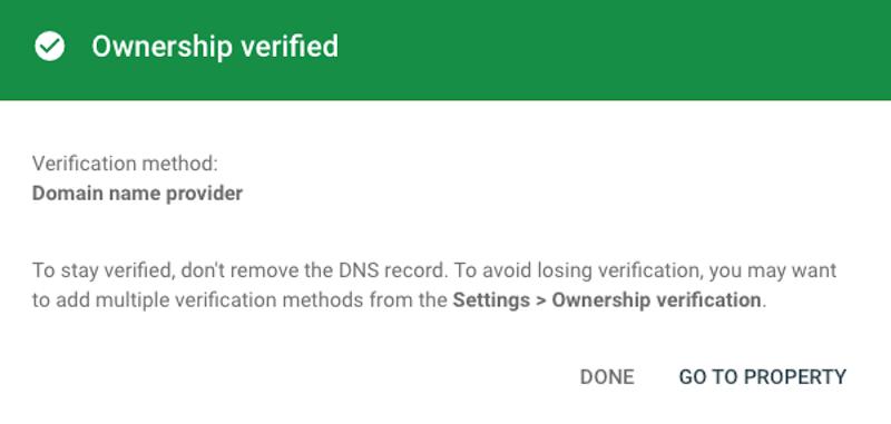 Thông báo tạo tài khoản đăng ký Search Console