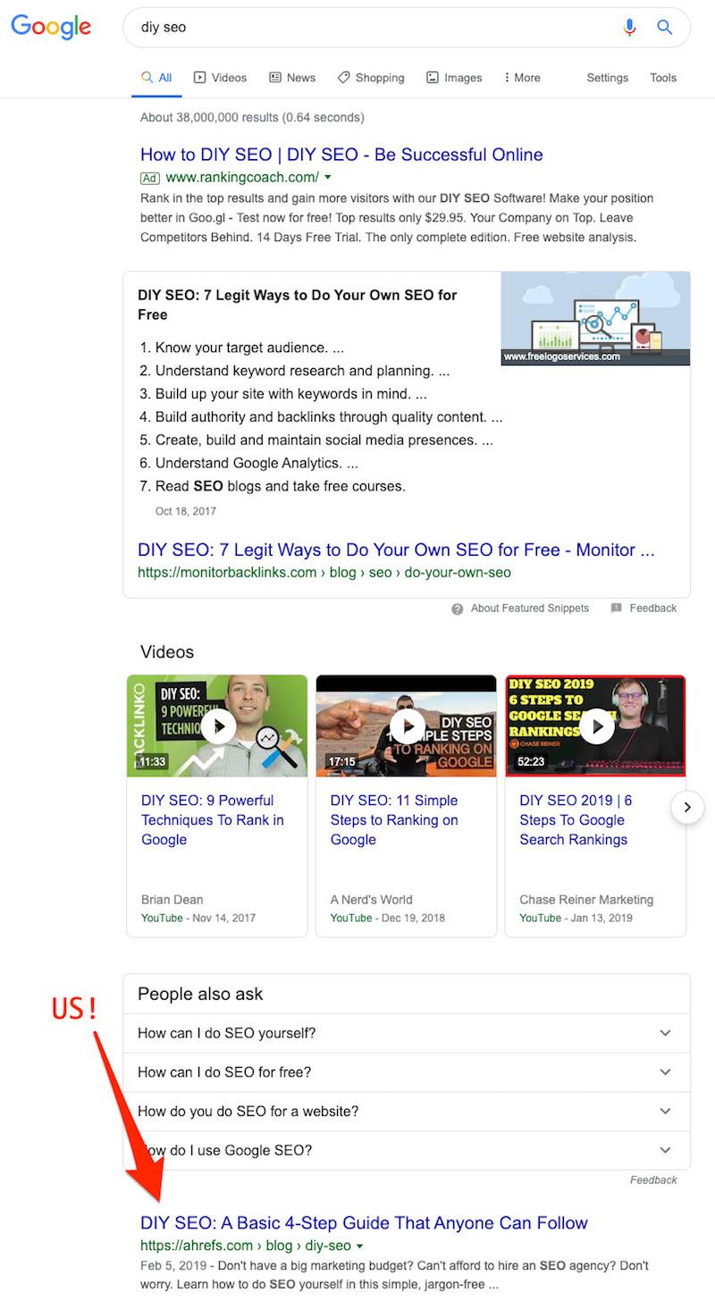 Tìm từ khóa có vị trí dưới 3.1 với Google