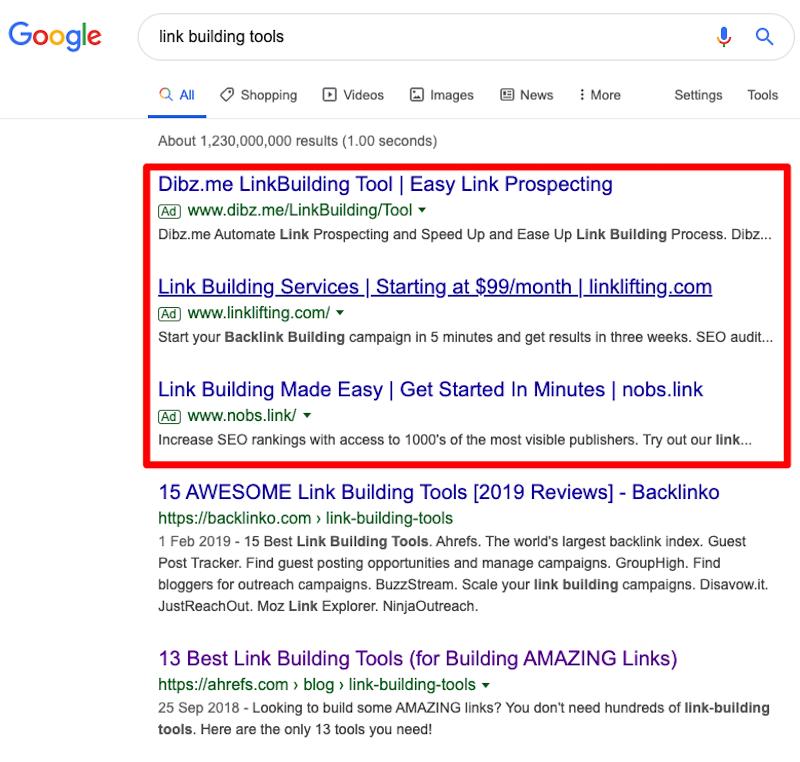 Có nhiều liên kết quảng cáo miễn phí xuất hiện trên Google