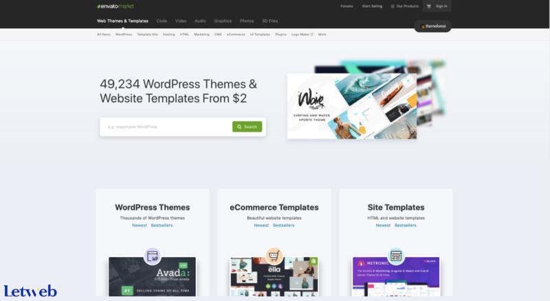 ThemeForest cung cấp nhiều mẫu website đẹp, dễ sử dụng