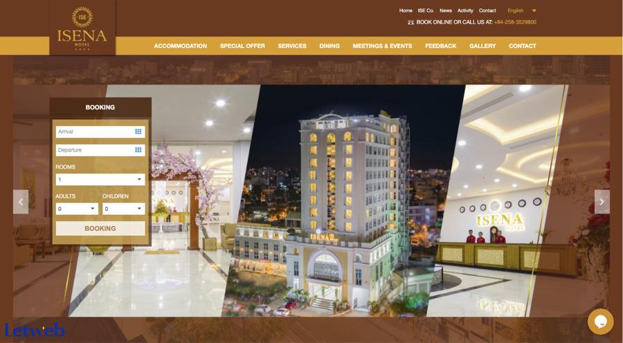 Giao diện đặt phòng đơn giản của khách sạn Isena Nha Trang
