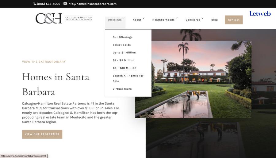Homes in Santa Barbara chú trọng vào cảm giác thoải mái của người dùng khi truy cập web
